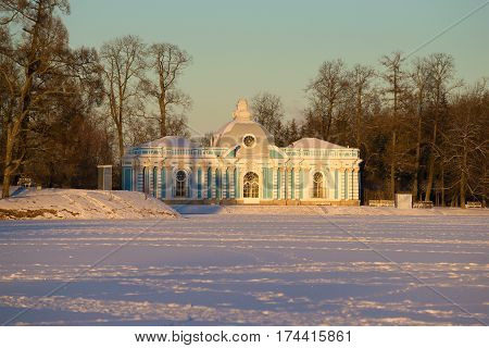 A view of the Grotto pavilion in February twilight. Catherine Park of Tsarskoye Selo