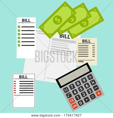 Bills for utilities, receipts. Flat design, vector illustration, vector.