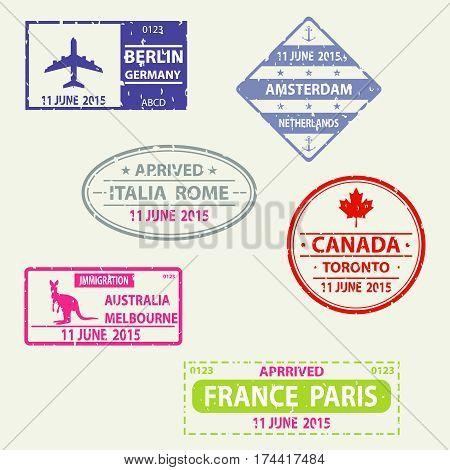 Stamp in the passport, visa. Flat design, vector illustration, vector.