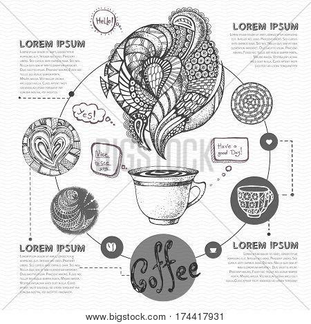 Decorative sketch of cup of coffee or tea. Coffee menu design