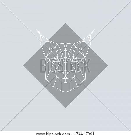 Geometric head Lynx. Vector minimalistic linework illustration.