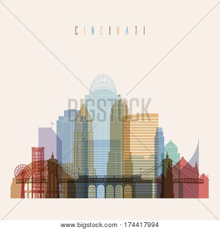 Transparent style Cincinnati state Ohio skyline detailed silhouette. Trendy vector illustration.