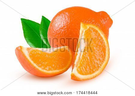 orange tangerine or Mineola with a slices and leaf isolated on white background.