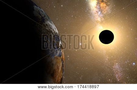 sun eclipse,full sun eclipse with Abstract scientific background. Elements of this image furnished by NASA