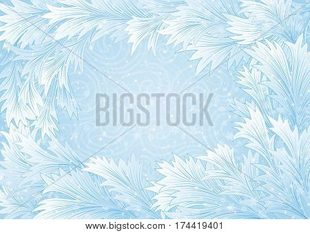 Illustration of winter background with hoarfrost frame and snowstorm ornament