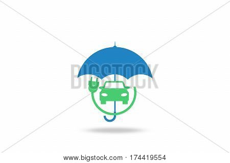 Electric Car Insurance Electric Cars Umbrella White Background Marketing Illustration Copy Space