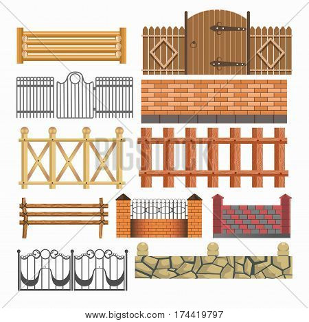Gates, house fences of metal forging, stone and brick masonry and wood hedges with wickets. Vector isolated icons set