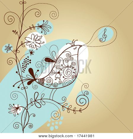 floral design, singing bird