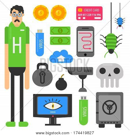 Internet hacker and computer phishing or hack malware or digital security breach concept. Personal data and money theft and viral software tools vector flat icons set