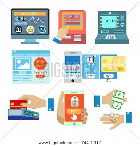 Online shopping internet payments and money atm withdrawal methods. Vector isolated symbols of credit card at shop cash desk, smartphone banking transfer application for infographics flat design