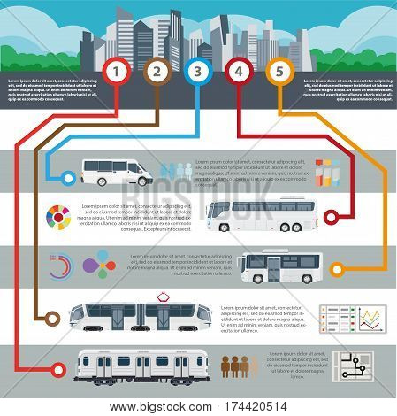 Public transport infographics template for municipal passenger trasportation routes and statistics. Vector flat design of bus, tram, subway metro train, taxi and trolleybus