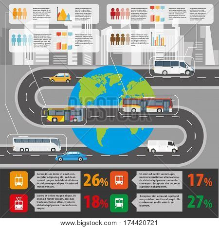 Public transport and passenger and tourist transportation statistics infographics flat template. Vector design of percent share and diagrams on use preference or availability of bus, tram and taxi