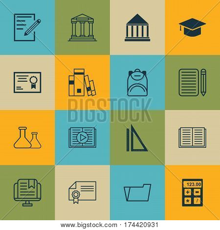 Set Of 16 School Icons. Includes Document Case, Graduation, Taped Book And Other Symbols. Beautiful Design Elements.