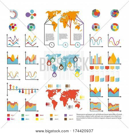 Infographics statistics and analytics icons temlate. Vector diagrams and growth charts, flowchart graphs, percent share bars and pie circles for consumer market, marketing and business wolrd map