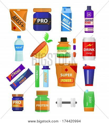 Sport and gym fitness nutrition and dietary supplements. Energy snack bar, protein drink in shaker cup, vitamin juice and muscle mass boost powder. Vector flat icons of dumbbell, water and carrot