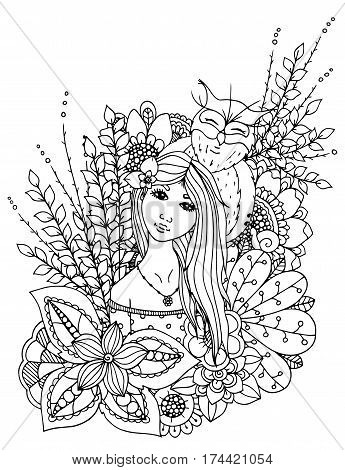 Vector illustration zentangl girl drowned in flowers. Doodle drawing. Meditative exercise. Coloring book anti stress for adults. Black white.