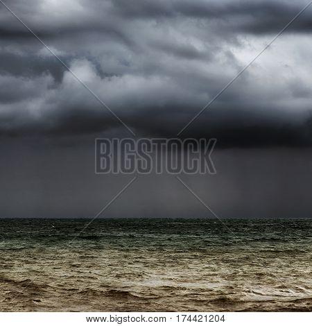 Beautiful dark seascape with the rain away.
