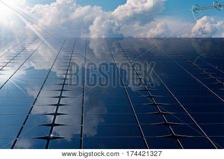 Close-up of a Solar Panel (photovoltaic panel - 3D illustration) with a power line blue sky clouds and sun rays