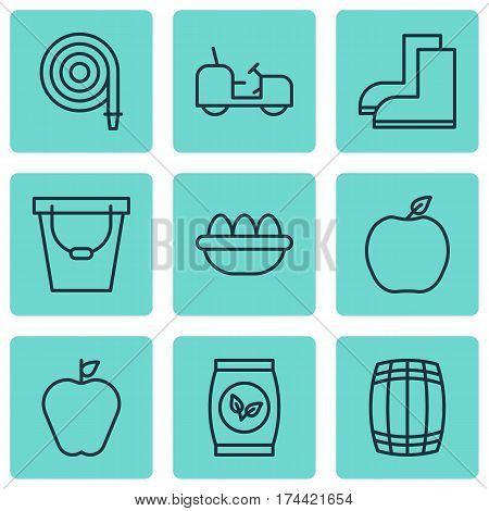 Set Of 9 Gardening Icons. Includes Cask, Taste Apple, Ovum And Other Symbols. Beautiful Design Elements.
