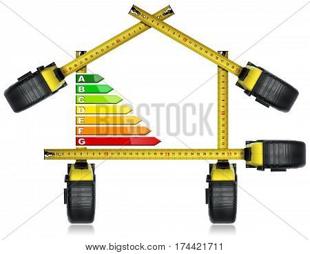 Energy Efficiency - Tape measures in the shape of house with energy efficiency rating. Isolated on white background