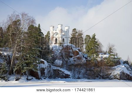 Chapel tomb of Lyudvigsburg on the Island of the Dead in the February day. Vyborg, Russia