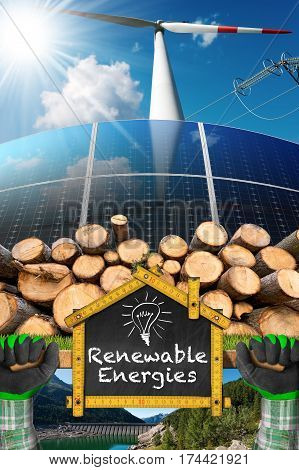 Renewable energies sources - Wind energy (wind turbine) solar energy (solar panels) biomass (tree trunks) and hydropower (dam for hydroelectric power)