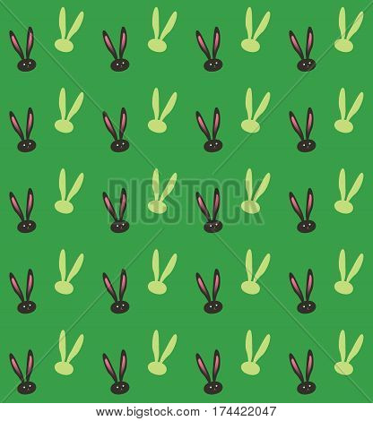 Rabbit pattern. Easter Holiday Greeting card background. Fashion, textile. Rabbit Green Print. Rabbit ears trendy pattern design. Spring Vintage style
