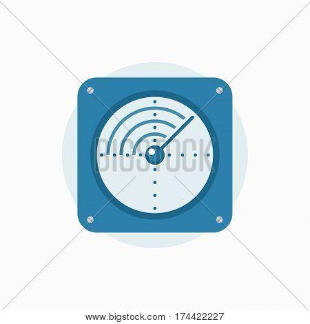 Radar vector icon - blue flat creative sign