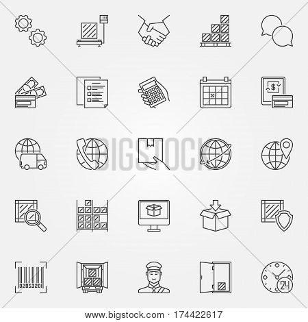 Logistics line icons set - vector delivery and shipping concept symbols or design elements for logistic company