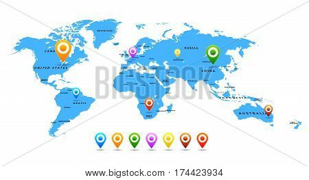 Vector World map with pointers isolated on white background