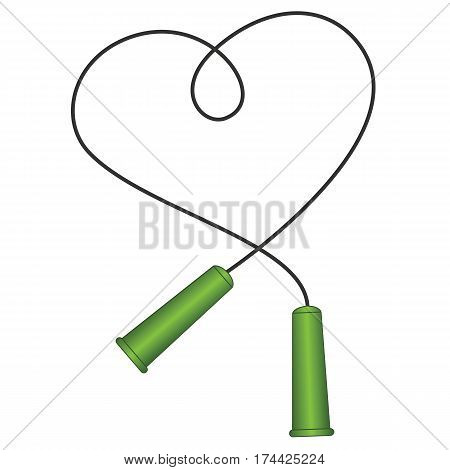 The Skipping Rope Icon, Jumping Rope Symbol, Thin Line Flat Style. Rope in the shape of a heart