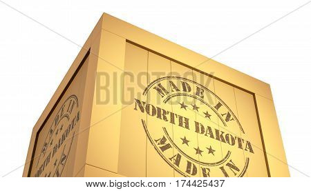 Import - Export Wooden Crate. Made In North Dakota. 3D Illustration