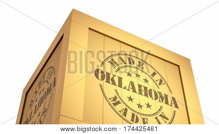 Import - Export Wooden Crate. Made In Oklahoma. 3D Illustration