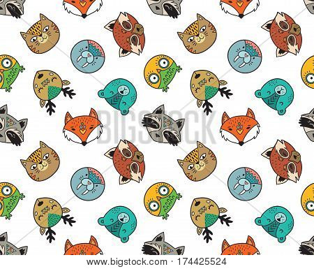 Vector seamless pattern with forest animals - owl, cat, deer, fox, raccoon, polar bear, seal and red panda. Repeated texture with cute cartoon characters on white background.