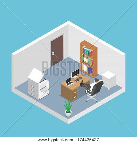 Isometric Businessman Relaxing In The Office Room