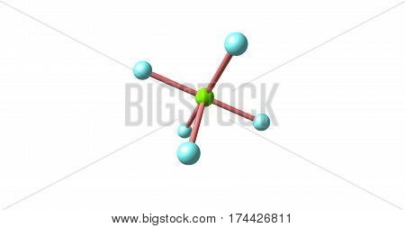 Chlorine pentafluoride is an interhalogen compound with formula ClF5. This colourless gas is a strong oxidant. The molecule adopts a square pyramidal structure. 3d illustration