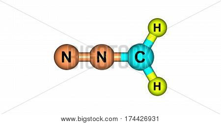 Diazomethane is the chemical compound CH2N2. It is the simplest diazo compound. It is an extremely sensitive explosive yellow gas. 3d illustration
