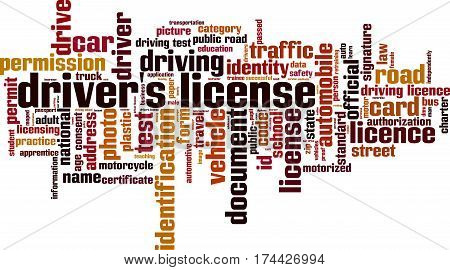Driver's license word cloud concept. Vector illustration