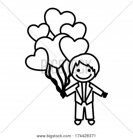 figure bridegroom with red heart balloons in his hand, vector illustraction