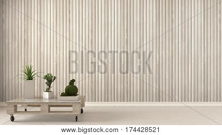 Empty Room With Diy Pallet Table And Succulent Potted Plants On Herringbone Parquet, Wooden Wall, Ba
