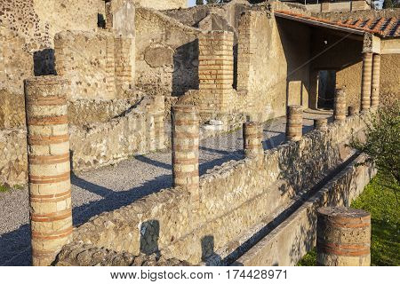 Ruins of Herculaneum at sunset. Ercolano Campania Italy