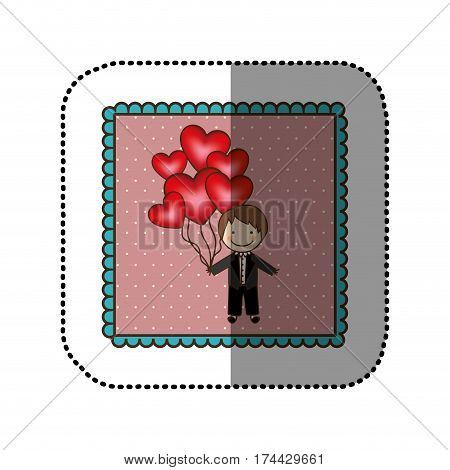 emblem bridegroom with red heart balloons in his hand, vector illustraction