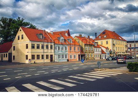 HORSENS DENMARK - JUNE 11: Typical old city houses in Horsens Denmark in 2012