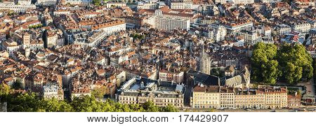 Grenoble architecture - aerial view. Grenoble Auvergne-Rhone-Alpes France.