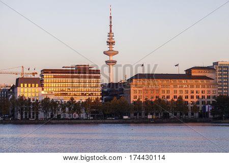 Heinrich Hertz Tower in Hamburg. Hamburg Germany.