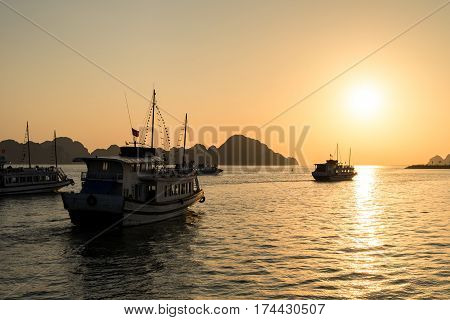 The beautiful sunset in Halong Bay A UNESCO World Heritage Site and popular travel destination in Vietnam