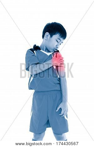 Asian Soccer Player With Pain At Shoulder. Isolated On White Background.