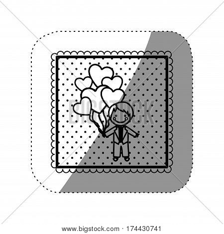 symbol bridegroom with red heart balloons in his hand, vector illustraction