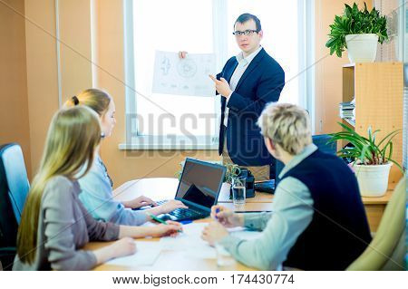 business team discussing at a table in an office, new business ideas. Two young men and two girls with glasses. Director something tells his subordinates