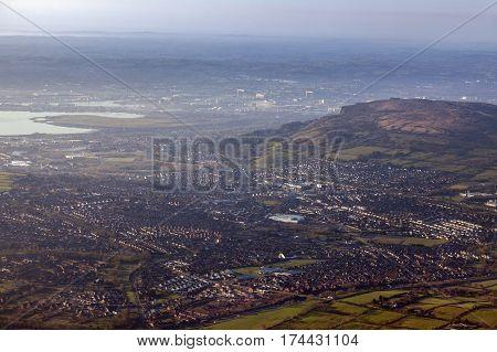 Aerial view of Belfast area. Belfast Northern Ireland United Kingdom.